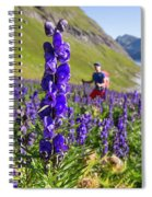 A Male Hiker In Sunny Flower Field Spiral Notebook