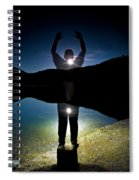 A Man Balances On A Log At Night Spiral Notebook