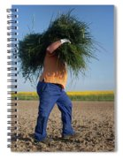 A Man Harvests Sedge To Be Used Spiral Notebook