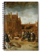 A Marketplace In Winter, 1653 Spiral Notebook