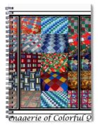 A Menagerie Of Colorful Quilts Triptych Spiral Notebook