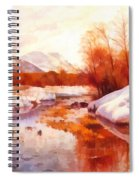 A Mountain Torrent In A Winter Landscape Spiral Notebook