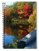 A Painting Autumn Lake And Bridge Spiral Notebook