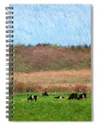 A Painting Cows Grazing And Newport Bridge Spiral Notebook