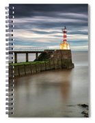 A Red And White Striped Lighthouse Spiral Notebook