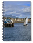 A Sailing Yacht Passes The Wharf In Sidney Harbour Spiral Notebook