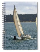 A Sailing Yacht Rounds A Buoy In A Close Sailing Race Spiral Notebook