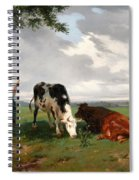 A Shepherdess With A Goat And Two Cows In A Meadow Spiral Notebook