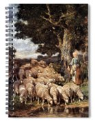 A Shepherdess With Her Flock Near A Stream Spiral Notebook