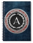 A - Silver Vintage Monogram On Blue Leather Spiral Notebook