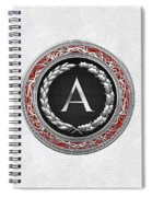 A - Silver Vintage Monogram On White Leather Spiral Notebook