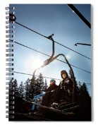 A Skier And Snowboarder Share The Chair Spiral Notebook