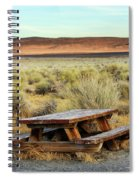 A Solitary Wooden Picnic Bench Spiral Notebook