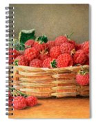 A Still Life Of Raspberries In A Wicker Basket  Spiral Notebook