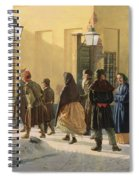 A Street Scene, Outside A Prison, 1868 Oil On Canvas Spiral Notebook