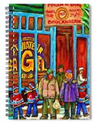 A Stroll After The Hockey Game St Viateur Bagel Montreal Winter Street Carole Spandau Spiral Notebook