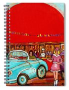 A Sunny Day At The Big Oj- Paintings Of Orange Julep-server On Roller Blades-carole Spandau Spiral Notebook