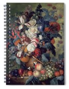 A Vase Of Flowers With Fruit Spiral Notebook