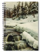 A Winter Landscape With A Mountain Torrent Spiral Notebook