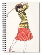 A Woman In Full Swing Playing Golf Spiral Notebook