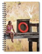 A Woman Is Sitting By A Lake, Mount Spiral Notebook
