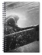 A Woman On A Surfboard Under The Water Spiral Notebook