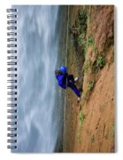 A Woman Rappelling Down Next To Deer Spiral Notebook