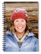 A Woman Stands Against A Log Cabin Spiral Notebook