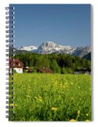 A Woman Walks Through An Alpine Meadow Spiral Notebook