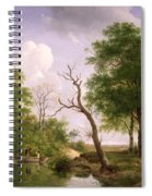 A Wooded River Landscape With Sportsmen In A Rowing Boat Spiral Notebook
