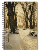 A Wooded Winter Landscape With Deer Spiral Notebook