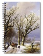 A Wooded Winter Landscape With Figures Spiral Notebook