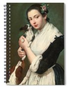 A Young Lady With Two Dogs Spiral Notebook