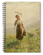 A Young Woman In The Meadow Spiral Notebook