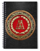 Aa Initials - Gold Antique Monogram On Black Leather Spiral Notebook