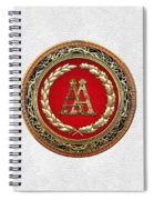 Aa Initials - Gold Antique Monogram On White Leather Spiral Notebook