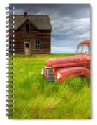 Abandoned Homestead House And Red Spiral Notebook