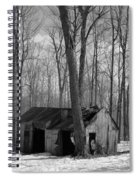Abandoned Sugar Shack In Black And White Spiral Notebook