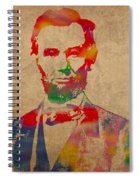 Abraham Lincoln Watercolor Portrait On Worn Distressed Canvas Spiral Notebook