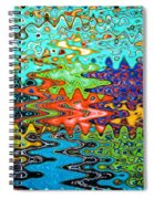 Abstract Background With Bright Colored Waves 1 Spiral Notebook
