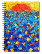 Abstract Blue Poppies In Sunrise -original Oil Painting Spiral Notebook