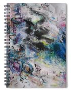 Abstract Flower Field Painting Blue Pink Green Purple Black Landscape Painting Modern Acrylic Pastel Spiral Notebook