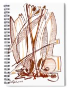 Abstract Pen Drawing Sixty-four Spiral Notebook