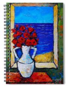Abstract Poppies By The Sea Spiral Notebook