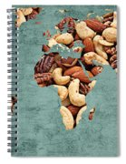 Abstract World Map - Mixed Nuts - Snack - Nut Hut Spiral Notebook