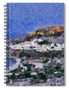 Acropolis Village And Beach Of Lindos Spiral Notebook