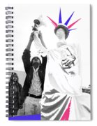Adjusting  Torch Statue Of Liberty Statue July 4th Parade Tucson Arizona  Spiral Notebook