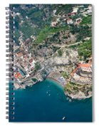 Aerial View Of A Town, Atrani, Amalfi Spiral Notebook
