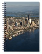 Aerial View Of Seattle Skyline With Elliott Bay And Ferry Boat Spiral Notebook