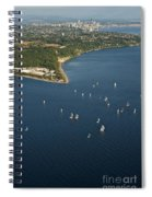Aerial View Of Seattle Skyline With Sailboat Race On Puget Sound Spiral Notebook
